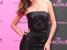 Miranda Kerr steps out in a sophisticated black dress by David Koma for the glamorous launch of MAGNUM Pink & Black in Cannes